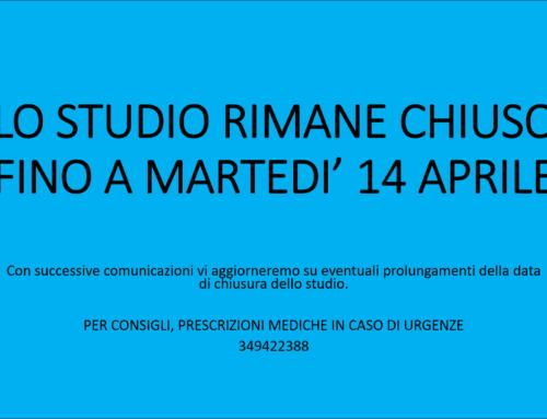 COMUNICAZIONE CHIUSURA STUDIO